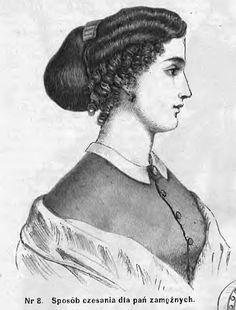 Fryzura dla zamężnej kobiety - sierpień 1866 Hairstyle for a married woman - August 1866