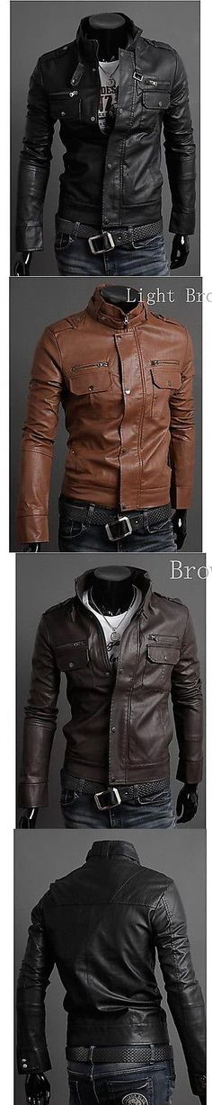 Men Coats And Jackets: New Mens Leather Jacket Black Brown Biker Motorcycle Jacket -> BUY IT NOW ONLY: $44.5 on eBay! Men's Leather Jacket, Leather Jackets, Motorcycle Jacket, Biker, Men's Coats And Jackets, Black And Brown, My Style, Ebay, Clothes