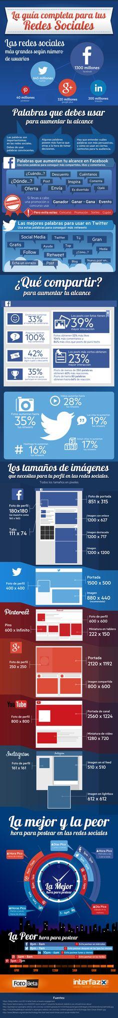 Hola: Una infografía con una Guía completa para tus Redes Sociales. Un saludo