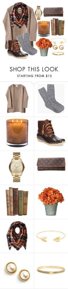 """Fall into Autumn🍂🌾"" by marisssarenae ❤ liked on Polyvore featuring J.Crew, Laura Mercier, Sperry, Michael Kors, Louis Vuitton, Collection XIIX, Lord & Taylor and Kate Spade"