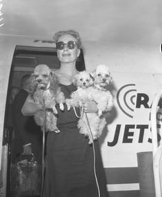 Joan with her dogs Chiffon, Camille and Cliquot, 1959