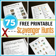 75 FREE Printable Scavenger Hunts - a list of 75 free printable scavenger hunts listed by category from My Joy-Filled Life Más Summer Activities, Toddler Activities, Family Activities, Nature Activities, Work Activities, Indoor Activities, Scavenger Hunt List, Classroom Scavenger Hunt, Scavenger Hunt Birthday