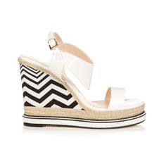Nicholas Kirkwood Leda patent-leather and espadrille wedge sandals ($251) ❤ liked on Polyvore featuring shoes, sandals, white black, black and white platform sandals, patent leather wedge sandals, black and white wedge sandals, platform wedge sandals and summer sandals