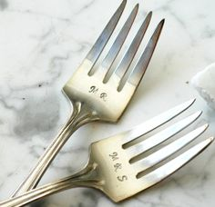 Mr & Mrs Cake Forks for the Ceremonial Cake Cutting-Fork Recyled Vintage Silverware
