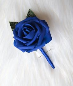 Navy Blue Wedding Single Rose & Ribbon Boutonniere by KimeeKouture