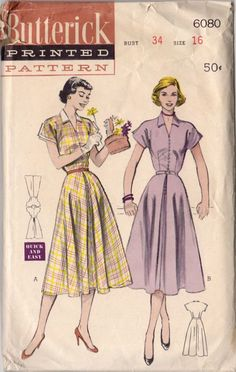 7284c1d5d5 Vintage 1950s Ladies Collared Dress Sewing Pattern Butterick 6080 Bust 34  Hip 37 Kimono Sleeves