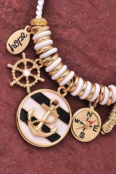 Anchor Charm Bracelet - White
