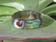 Size 5.25 5.33 Abalone Puau Shell Smooth Band by MonkeyNavigated, $14.00