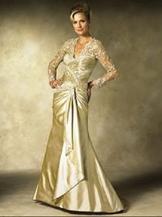 wedding dresses for second marriages over 40   Gold Wedding Dresses for Brides Over 40, Mature Brides, Second Time ...