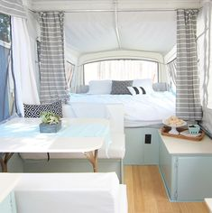 A popup camper remodel renovation can be done easily with the use of the internet. You can customize your popup camper so that it will fit your requir. Popup Camper Remodel, Camper Renovation, Pop Up Tent Trailer, Trailer Diy, Camper Curtains, Rv Interior, Campervan Interior, Camper Makeover, Trailer Remodel