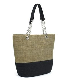 Look at this #zulilyfind! Toast & Black Color Block Chain Tote #zulilyfinds