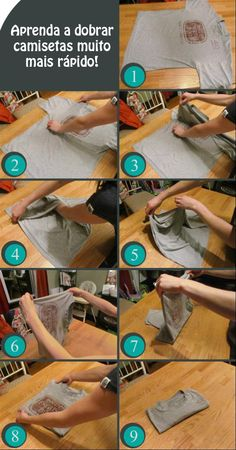 Como dobrar camisas de um jeito ninja.