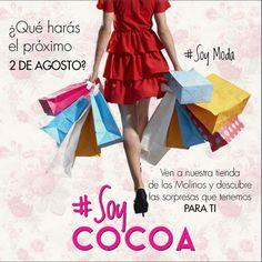 Te esperamos el próximo 2 de agosto en nuestra tienda Los Molinos  #SoyModa #SoyCocoa