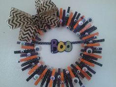 """""""BOO! """" By Swak Deezigns - clothes pin wreath"""