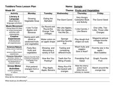 Infant Blank Lesson Plan Sheets  Toddler Lesson Plan   Lesson
