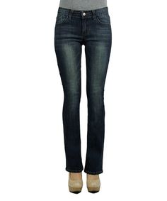 $24.99 Dark Blue Five-Pocket Bootcut Jeans #zulily #zulilyfinds