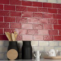 "Antiqua 3"" x 6"" Ceramic Subway Tile in Feelings Red Moon"
