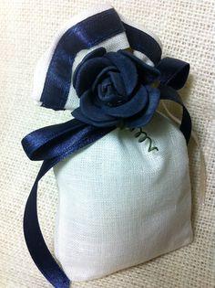 Blue flower linen favour bag.