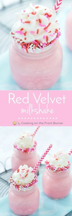 This Red Velvet Milkshake Is Cool, Creamy And Tasty! Kids And Adults Alike  Can