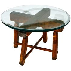 Japanese Cross Side Table With Glass Top