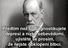 Sigmund Freud: Předtím než si diagnostikujete depresi a nízké sebevědomí… Sigmund Freud, Psychology Quotes, Osho, Carpe Diem, Read More, Quotations, Literature, Jokes, Mindfulness