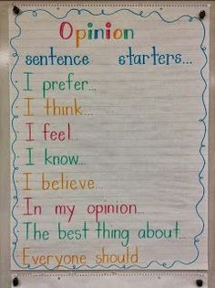 - Sentence starters from Live, Love, Laugh, and Learn! This site also offers a video and other ideas for teaching persuasive writing. Great sentence starters to get our kiddos' brains thinking about opinion writing! Writing Lessons, Writing Resources, Writing Ideas, Writing Services, Writing Activities, Science Writing, Writing Checklist, Grammar Lessons, Reading Lessons