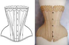 Ref Y pattern drafted from antique early XXe century S curve Edwardian corset, 18 inches small waist size. $36.00, via Etsy. Variety of corset patterns available.