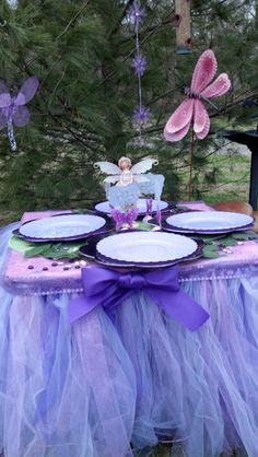Fairy Princess Tea Party, even the table is covered in a tutu and fairy dust.