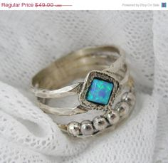 Opal ring. Unique sterling silver ring by STarLighTstudiO3 on Etsy, $44.00