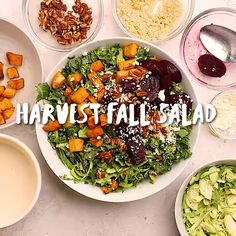 This Fall Harvest Salad is inspired by the seasonal vegetables that are popular in autumn - including kale, sweet potatoes and beets tossed in a tahini dressing! Winter Salad Recipes, Healthy Salad Recipes, Fall Recipes, Healthy Lunches, Healthy Soup, Autumn Recipes Healthy, Fall Vegetarian Recipes, Smoothie Recipes, Holiday Recipes