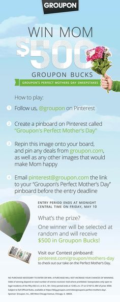 Groupon's Perfect Mother's Day Contest! Win $500 in Groupon bucks. Link to all our official rules: https://blog.groupon.com/cities/groupons-perfect-mothers-day/#more-10196