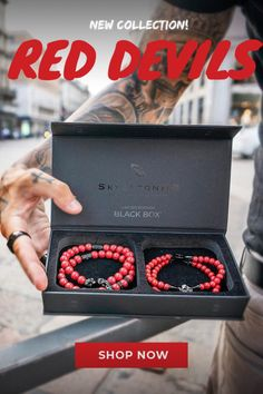 """We are proud to announce our brand new collection """"Red Devils""""! We have 100 Devils stacks with blood red stones and cut with black veins available now! #jewelrydesigner #formen #style #giftsforhim #skulls #skulltattoos Custom Jewelry, Men's Jewelry, Jewlery, Bracelets For Men, Bracelet Men, Star Wars Drawings, Red Stones, Casual Wear For Men, Vintage Metal Signs"""