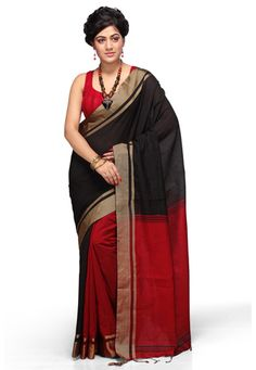 Black and Red Cotton Silk Bengal Handloom Saree with Blouse online, work: Hand Woven, color: Black / Dark Red, usage: Festival, category: Sarees, fabric: Cotton, price: $59.50, item code: SPGA10, gender: women, brand: Utsav