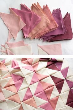 Change your favorite quilt pattern into an ombré quilt by converting yardage into fat quarters. Included is a half square triangle conversion chart and tutorial! Triangle Quilt Pattern, Patchwork Quilt Patterns, Half Square Triangle Quilts, Modern Quilt Patterns, History Of Quilting, Two Color Quilts, Geometric Quilt, Fat Quarter Quilt, Quilting For Beginners