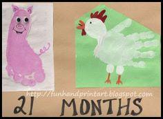 Handprint and Footprint Art : Cute Footprint Pig and Handprint Chicken