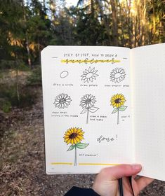 How awesome is this step by step sunflower doodle tutorial for bullet journals! Check out the rest of the list for more adorable ideas for inspriation! Bullet Journal Aesthetic, Bullet Journal Notebook, Bullet Journal Ideas Pages, Bullet Journal Spread, Bullet Journal Inspiration, Simple Doodles, Cute Doodles, Flower Doodles, Doodle Drawings