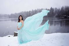 Noely Full Circle Chiffon Aqua Maternity Dress with sweetheart neckline - Silk Fairies