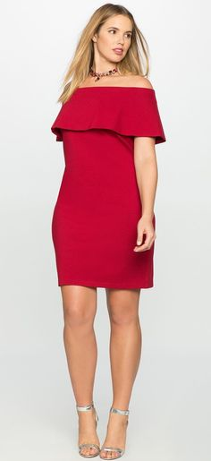 Plus Size Off the Shoulder Dress with Overlay