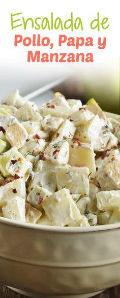 Ensalada de pollo, papa, y manzana está riquísima. Es una ensalada fresca, jugosa y muy saludable. Es una preparación que te puede sacar de un apuro, por lo fácil y rápido que es prepararla.