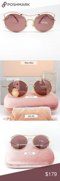 d855eb71ccf0 Miu Miu Sunglasses Pink Butterfly Gold Frame Brand new never used worn.  Comes with