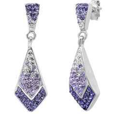 Sterling Silver Purple Crystal Ombre Earrinigs with Swarovski Elements