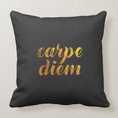 Shop Carpe Diem Quote Throw Pillow created by SageTypo.