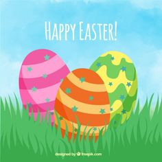 Hand drawn Easter eggs with colors stripes Free Vector