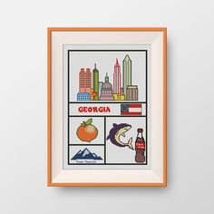 BUY 2, GET 1 FREE! Georgia cross stitch pattern, Instant Download, pdf, Little Georgia, U.S. state, State of Georgia, P184 by NataliNeedlework on Etsy