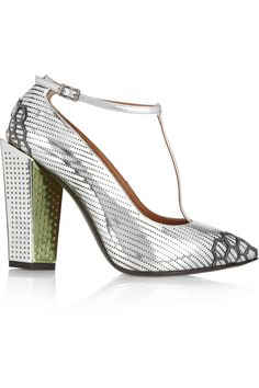 Fendi | Metallic leather T-bar pumps | NET-A-PORTER.COM