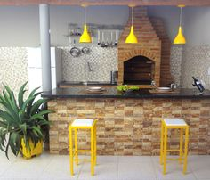 Espa o Gourmet Decora o de rea de lazer simp Bbq Grill, Interior Design Living Room, Home And Living, Interior And Exterior, Architecture Design, Kitchen Design, Sweet Home, New Homes, House Design