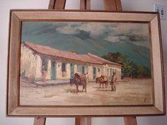quadro oléo sobre eucatex - pintor lubra