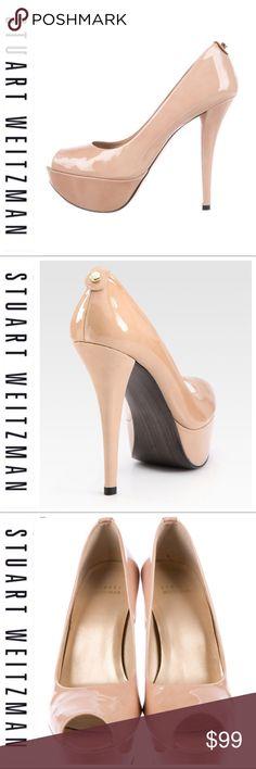 "7d0140ecf5af8 💕SALE💕Stuart Weizman Diplille Peep Toe Patten Gorgeous 💕Stuart Weizman  Diplille Peep Toe Patten Nude 5"" Heels Like New Worn Once Super Comfortable  High ..."