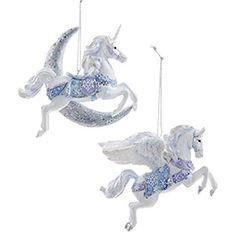 Kurt Adler Frosted Kingdom Unicorn/Pegasus ornament - set of 2 - C8904