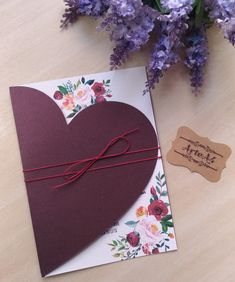 Invitation with heart cutout envelope on marsala paper with … – Weddings Diy Crafts For Gifts, Paper Crafts, Bff Birthday Gift, Valentines Gifts For Boyfriend, Easter Crafts For Kids, Valentine Crafts, Creative Cards, Homemade Cards, Wedding Cards